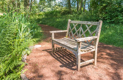 A old wooden bench in the beautiful botanical garden with sunlight shadow and shade in the day  time.. Stock Image