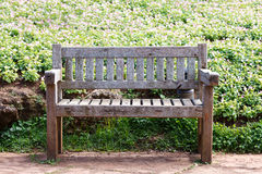 Old Wooden Bench in the garden Stock Photos