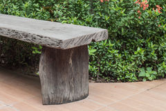 Old Wooden Bench in the garden Stock Photo