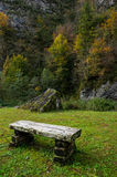 Old wooden bench in the green meadow Royalty Free Stock Photography
