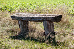 Old wooden bench on hiking trail Stock Photography