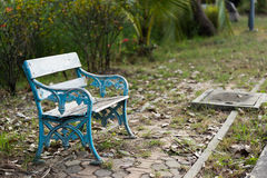 Old wooden bench in the park Royalty Free Stock Image