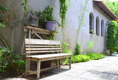 Old wooden bench in the park Stock Image