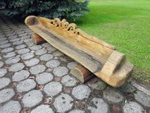 Old wooden bench in park, Lithuania Royalty Free Stock Photo