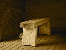 Old Wooden Bench In Sepia Tone Royalty Free Stock Images