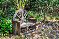 Old wooden bench in  tropical garden Royalty Free Stock Photo