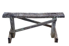Old wooden bench on a white background royalty free stock images