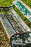 Old Wooden Bench / Wooden Bench / Old Green Wooden Bench in Park Royalty Free Stock Image