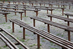 Old wooden benches Stock Photo