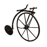 Old wooden bicycle isolated. royalty free stock image