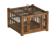 Old wooden birdcage Stock Images
