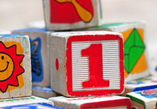 Old wooden block toys Royalty Free Stock Photography