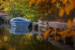 Old wooden blue boat Royalty Free Stock Photography