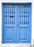 Old wooden blue door, Bulgaria Stock Images