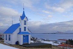 Old wooden blue icelandic church Royalty Free Stock Images