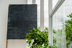 Old wooden board for chalk on the terrace on the background of greenery. Space for text Royalty Free Stock Image