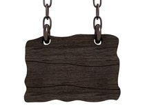 Old wooden board hanging on chains. 3d vector illustration