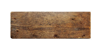 Old wooden board isolated on white Royalty Free Stock Photo
