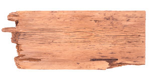 Old wooden board isolated on a white background. Royalty Free Stock Photo