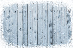 Old wooden board with snow flakes Stock Images