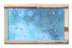 Old wooden board with water drop Stock Image