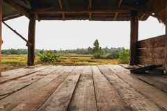 Old wooden boards empty in cottage Stock Photo