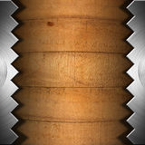 Old Wooden Boards and Metal Saw Stock Images