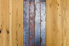 Old wooden boards and metal tape. Royalty Free Stock Image