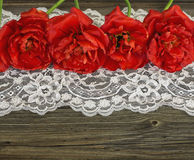 Old wooden  boards with red tulips and lace Royalty Free Stock Photo
