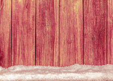 Old wooden  boards and white snow background Stock Photography