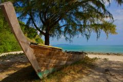 Old wooden boat. The old wooden boat buried in the ground Royalty Free Stock Image