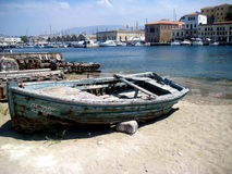 Old Wooden Boat at Harbor. This is an old wooden boat at the old harbor in Chania, Crete Royalty Free Stock Image