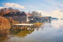 Old wooden boat houses at Lake Starnberg. In Bavaria, Germany Stock Images