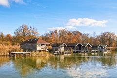 Old wooden boat houses at Lake Starnberg. In Bavaria, Germany Stock Photography