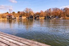 Old wooden boat houses at Lake Starnberg. In Bavaria, Germany Royalty Free Stock Photos