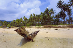 Old wooden boat on the island of Koh Samui. Stock Image