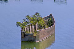 Old wooden boat in Kerkini lake. Royalty Free Stock Image