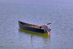 Old wooden boat in Kerkini lake. Royalty Free Stock Images