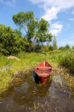 Old wooden boat at the lake Royalty Free Stock Photos