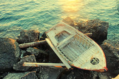 Old wooden boat at a Mediterranean sea(Greece) Stock Images
