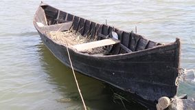 Old wooden boat moored in the river stock video