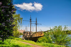 Old wooden boat near shore Stock Images