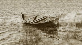 Old Wooden Boat Near The Lake Bank Royalty Free Stock Photography