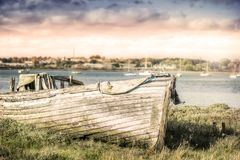 Old wooden boat. Docked on the riverside Royalty Free Stock Photography