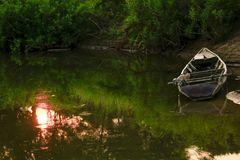 Free Old Wooden Boat On The Bank Of The River Royalty Free Stock Image - 120382696