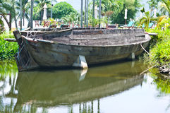 Old wooden boat in the park Royalty Free Stock Photography
