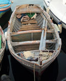 Old wooden boat. In the port royalty free stock photo