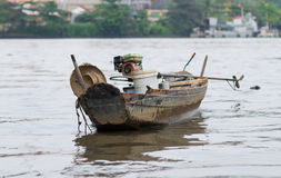 Old wooden boat on Saigon River. In Ho Chi Minh City Stock Photography