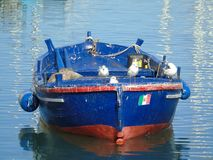 Old wooden boat with seagulls. At the harbour Royalty Free Stock Image