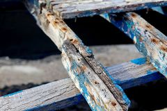 Old wooden boat skeleton Stock Photos